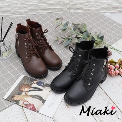 Miaki-短靴.經典綁帶拉鍊粗跟踝靴