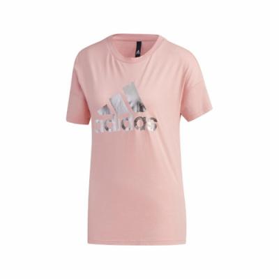 adidas T恤 Shiny BOS Graphic 女款 愛迪達 圓領 基本款 運動休閒 粉 銀 FT2892