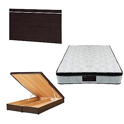 綠活居 梅娜5尺雙人床台三式組合(床頭片+後掀床底+正三線涼感獨立筒床墊)五色可選