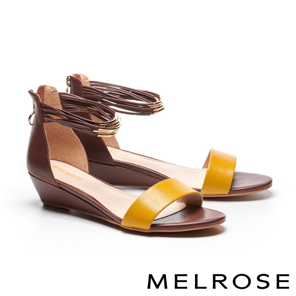涼鞋 MELROSE 金屬個性壓紋牛皮一字繫帶楔型高跟涼鞋-黃