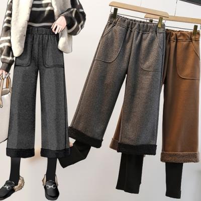 加絨保暖褲腳拼接假兩件呢料闊腿褲L-4XL(共二色)-KVOLL