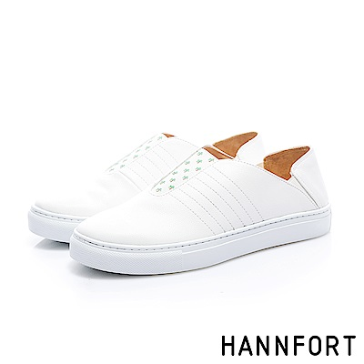 HANNFORT CAMPUS 椰子樹鬆緊後踩休閒鞋-女-清爽白