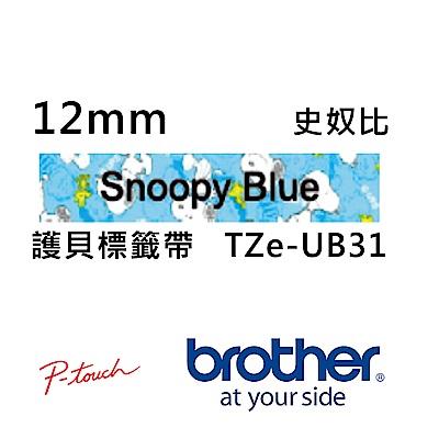 Brother TZe-UB31 史奴比 護貝標籤帶 ( 12mm 藍底黑字 )