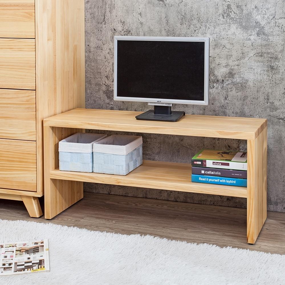 Bernice-森林家具 3.2尺全實木多功能電視櫃/長凳/坐式鞋櫃-95x32x46cm