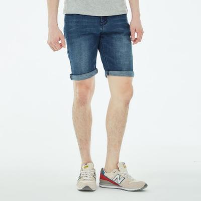 101原創 經典水洗刷色牛仔短褲-牛仔藍-男