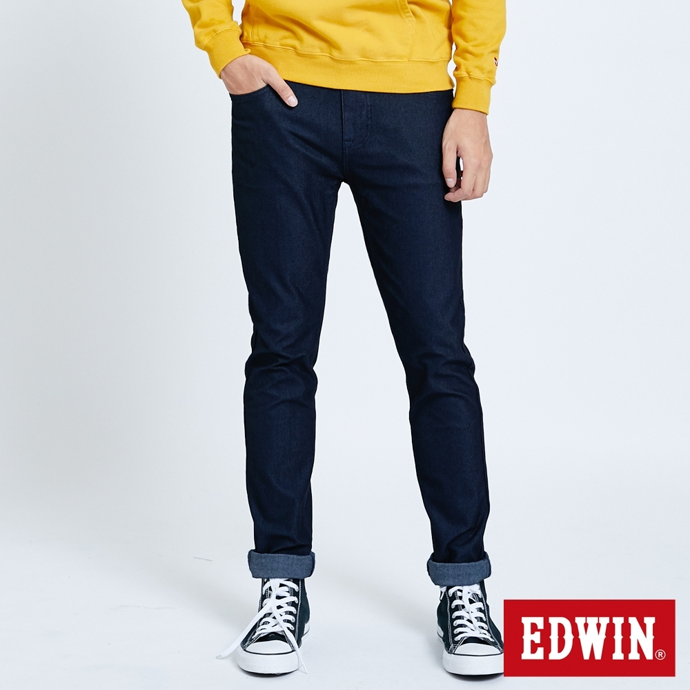 EDWIN JERSEYS 迦績 EDGE金線窄直筒牛仔褲-男-原藍磨