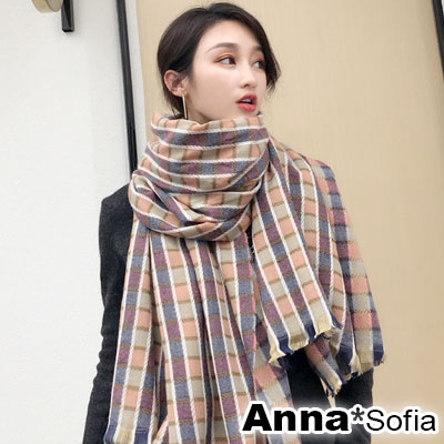 AnnaSofia 繽幻彩格 毛邊仿羊絨大披肩圍巾(粉格系)