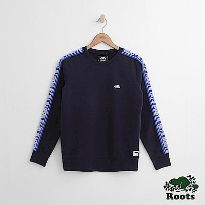 Roots -女裝- 雙臂字標圓領上衣 - 藍