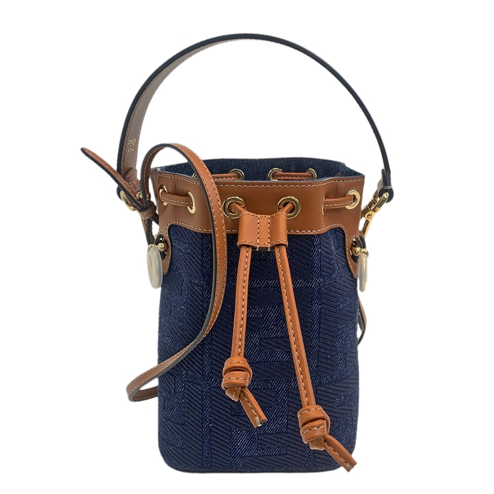 FENDI MON TRESOR系列丹寧小牛皮飾邊束口手提/斜背水筒包(迷你-藍色)