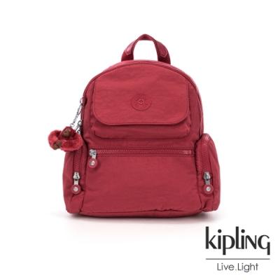 Kipling 經典百搭棗紅色多口袋拉鍊後背包-MATTA