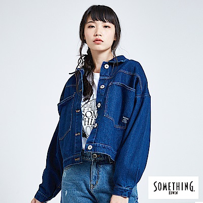 SOMETHING 青春高校 寬版貼袋牛仔外套-女-酵洗藍
