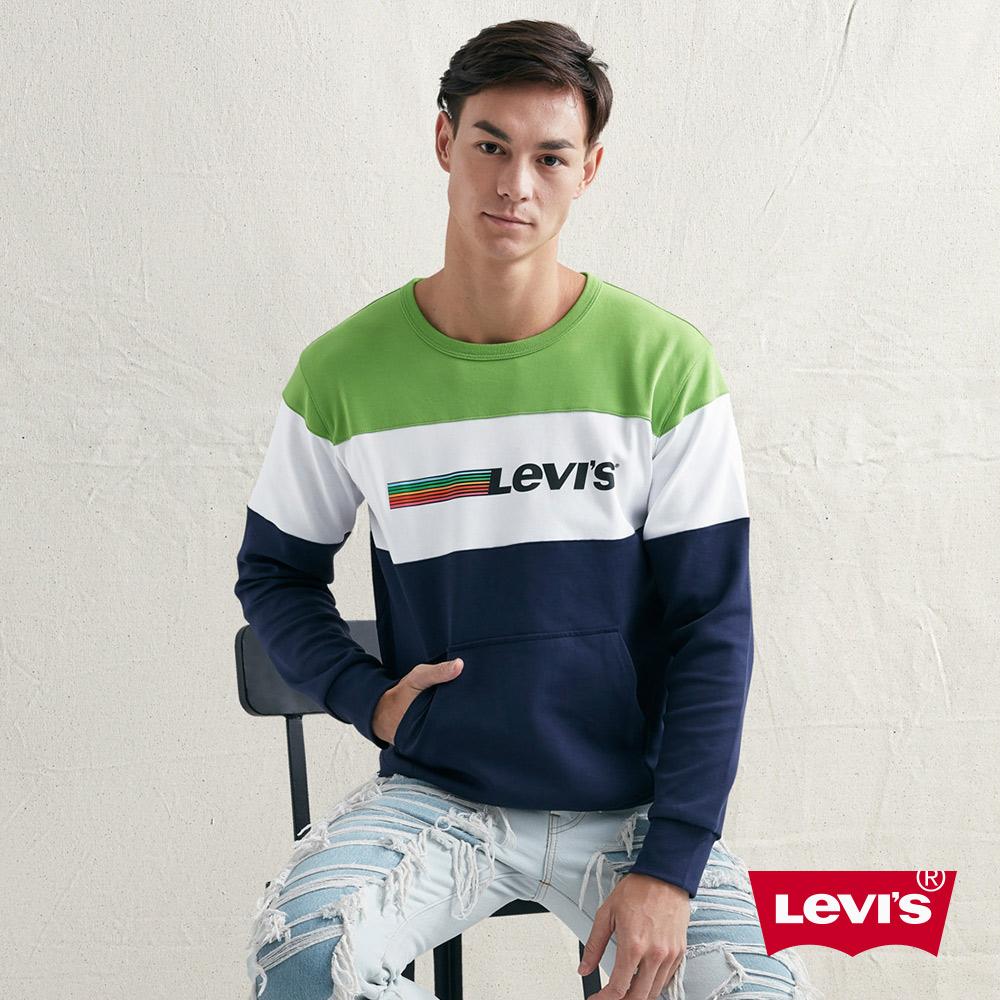 Levis 男款 大學T 色塊拼接 字母Logo 前側插口袋