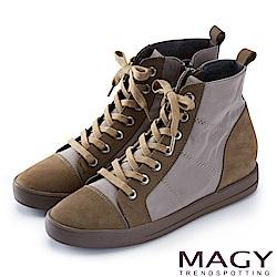 MAGY 個性街頭  牛皮拼接防水布面綁帶內增高短靴-綠色