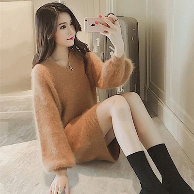 La BellezaV領素色水貂絨毛馬海毛針織毛衣洋裝