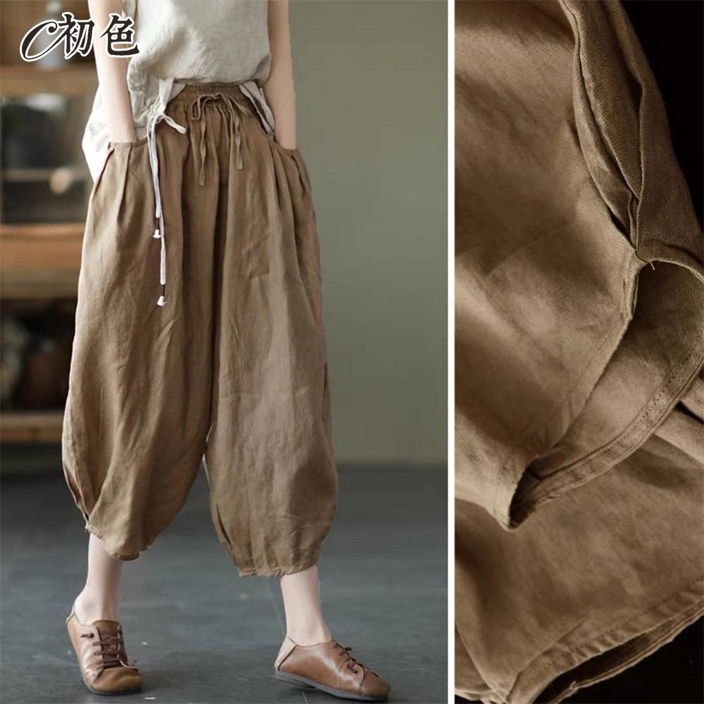 初色  復古純色燈籠褲-共9色-(M-2XL可選)