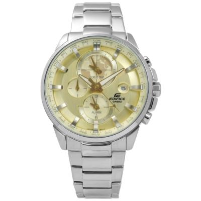 EDIFICE CASIO 卡西歐簡約三環不鏽鋼手錶-香檳金色/43mm