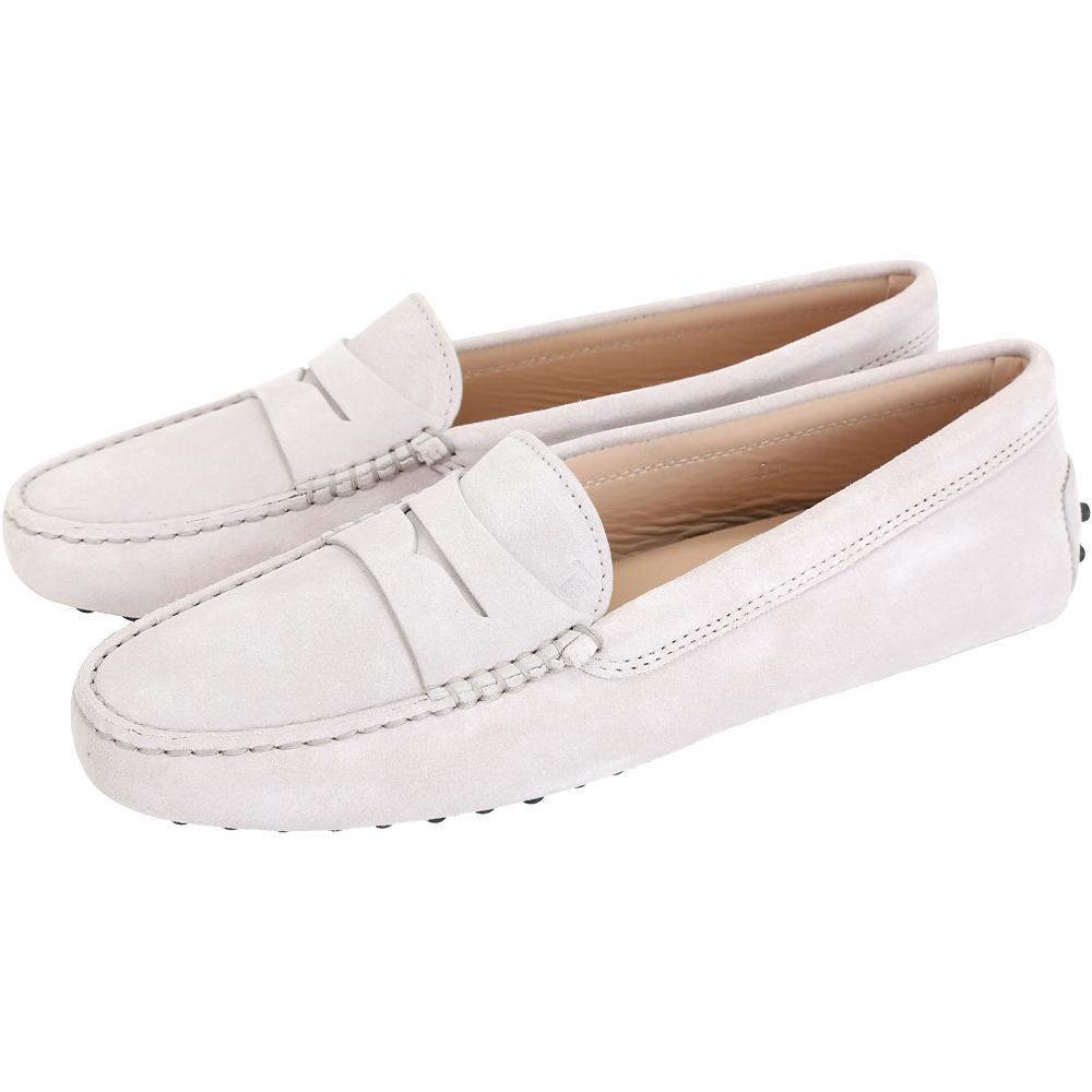 TOD'S Gommino 麂皮絨休閒豆豆鞋(女鞋/寧靜灰)