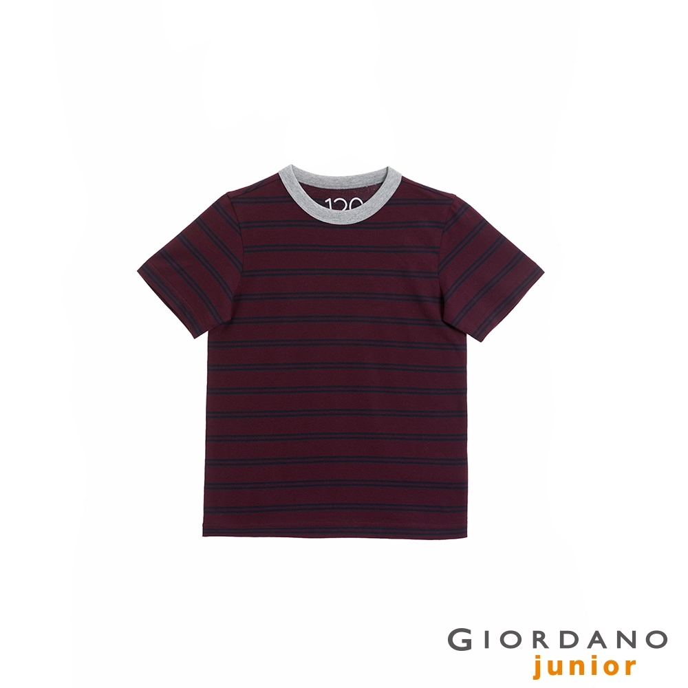 GIORDANO 童裝Greeting印花條紋T恤 - 06 酒紅x海軍藍