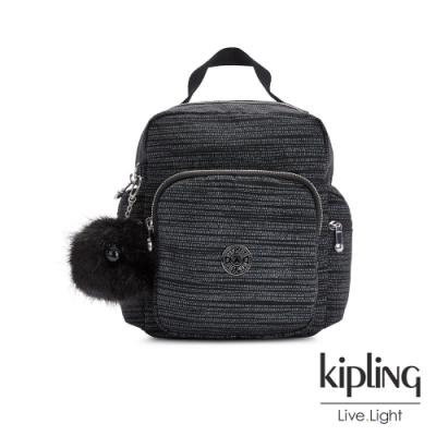 Kipling 沉穩十字條紋多拉鍊手提後背包-ESCALUS