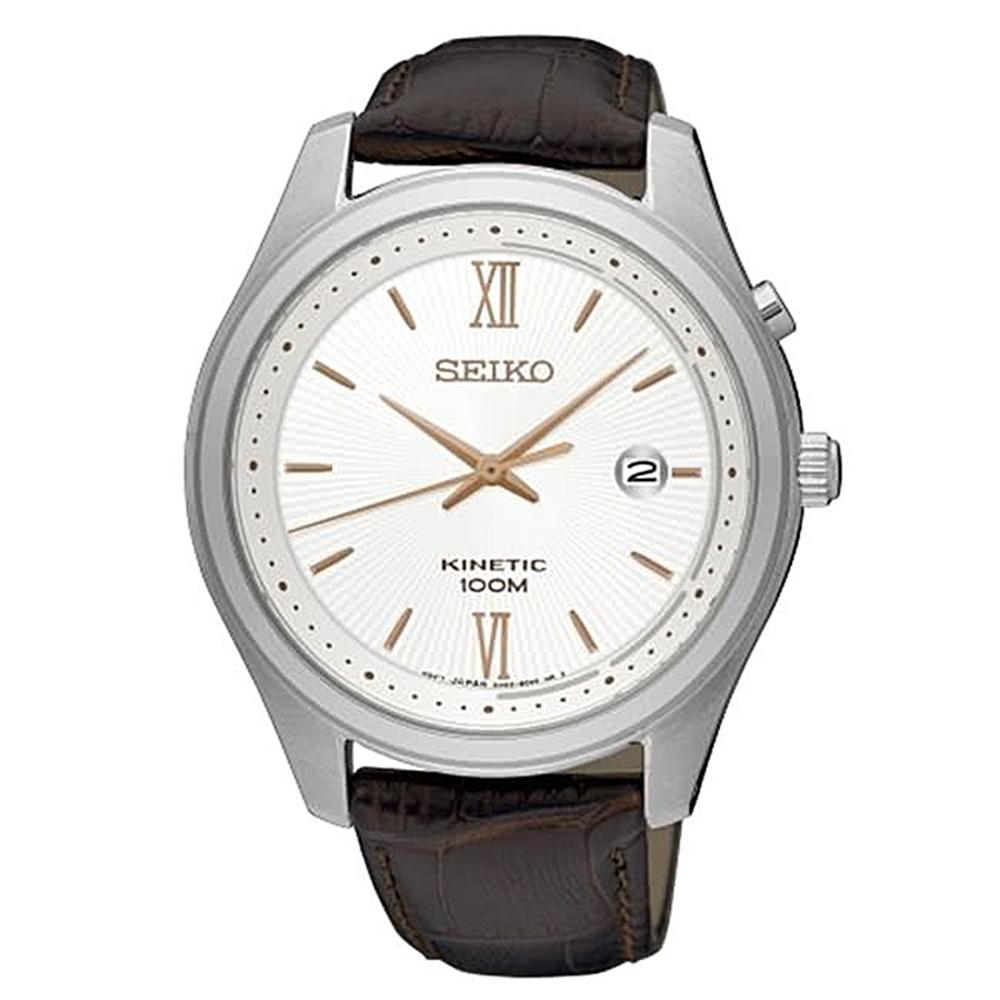 SEIKO 精工kinetic人動電能時尚皮腕錶-咖啡(SKA773P1)