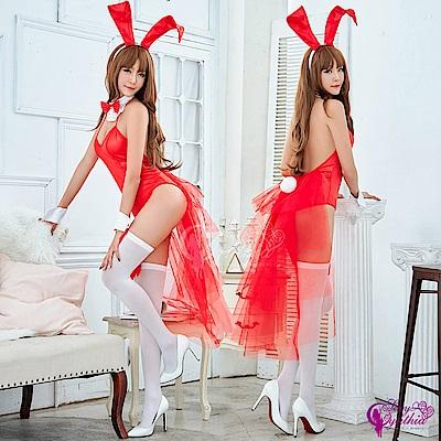 Sexy Cynthia 角色扮演 狂野火紅兔女郎角色扮演服五件組- 紅F