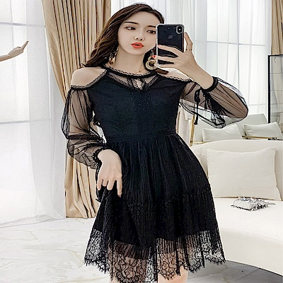 DABI 韓國風名媛拼接網紗露肩性感長袖洋裝