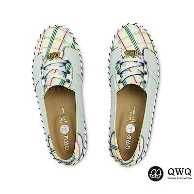 QWQ防潑水彩繪女包鞋 卡綺格紋-卡其綠