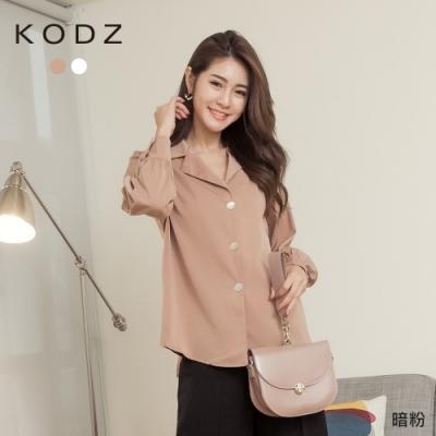 東京著衣-KODZ 知性品味質感貝殼釦綁帶襯衫上衣(共二色)