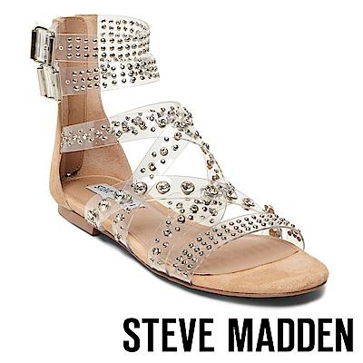 STEVE MADDEN-SHIFT 水鑽平底羅馬涼鞋-絨棕