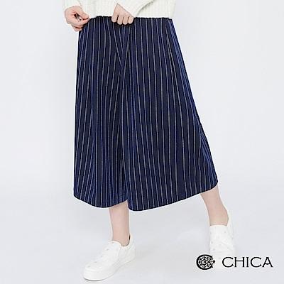 CHICA 寂靜星河打褶直條紋八分寬褲(2色)