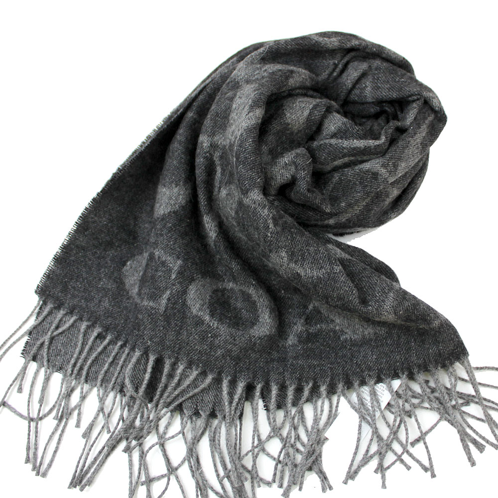 COACH  大C LOGO喀什米爾混羊毛&蠶絲寬版圍巾-黑灰COACH