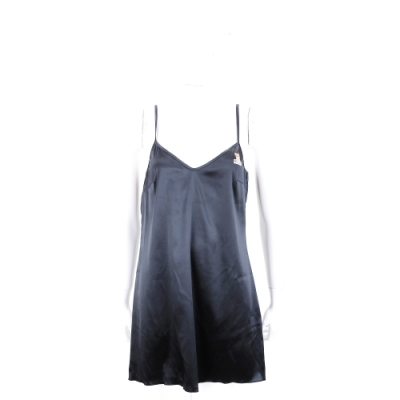MOSCHINO 黑色緞面泰迪熊細肩帶襯衣式洋裝