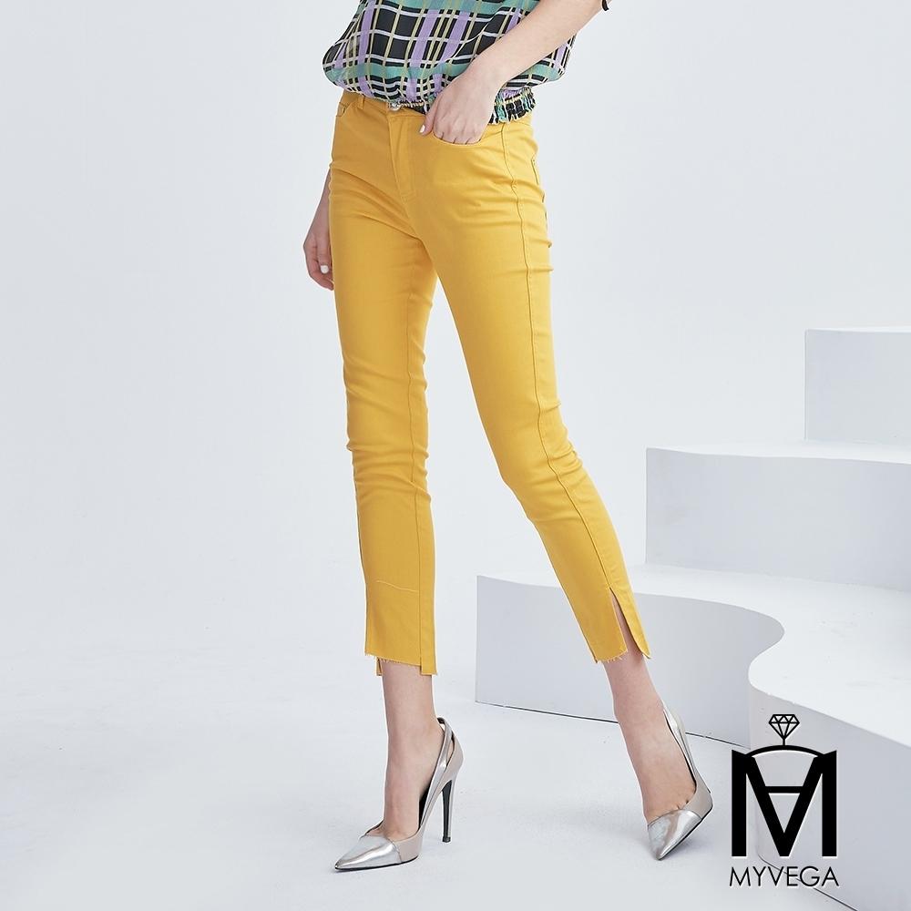 麥雪爾 MA棉質純色不規則鉛筆褲