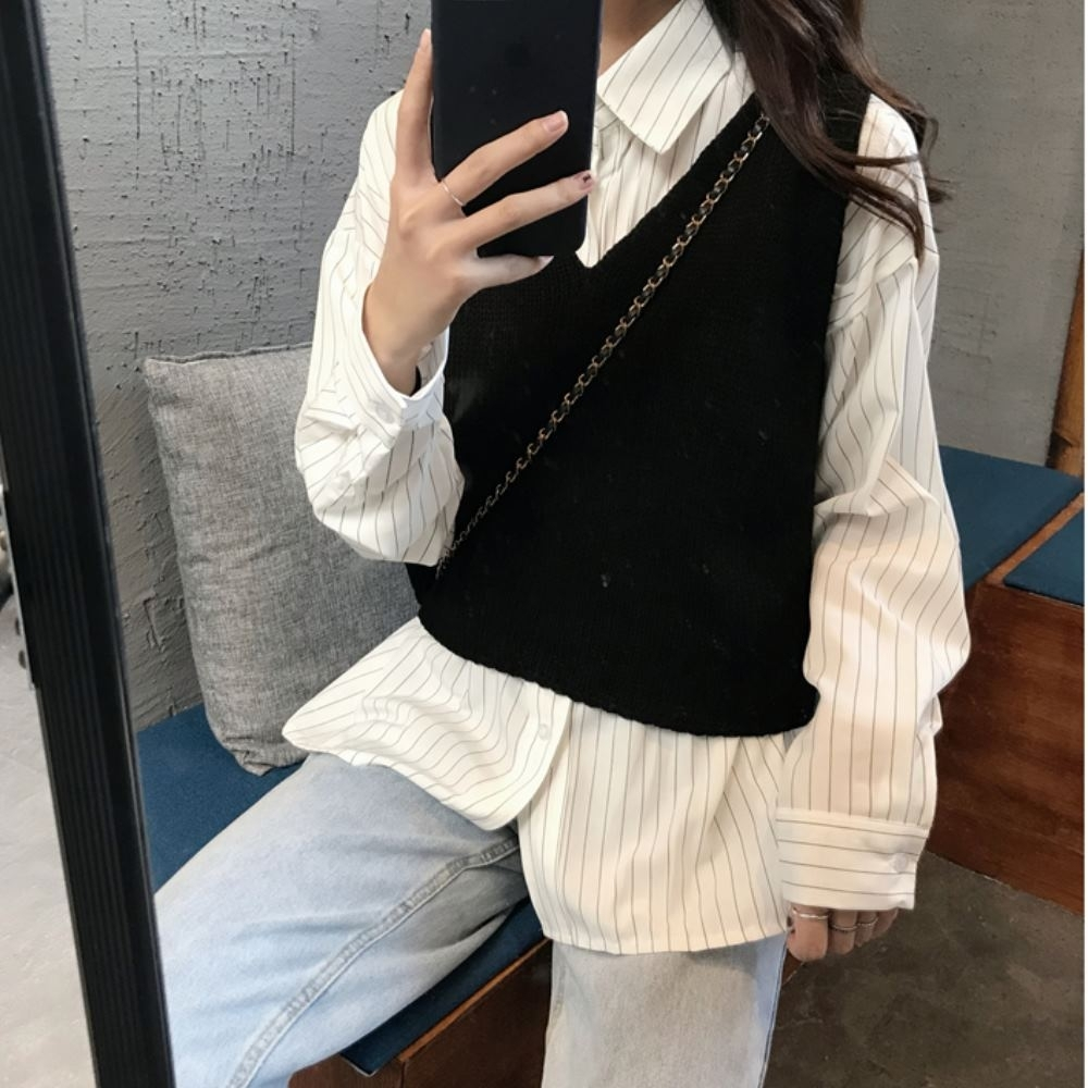 La Belleza兩件式細條紋單口袋襯衫加V領針織短背心 @ Y!購物