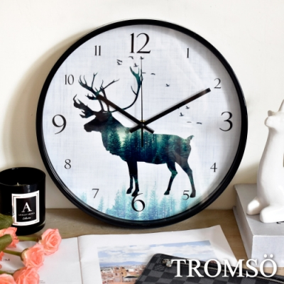 TROMSO北歐黑邊大麋鹿靜音時鐘