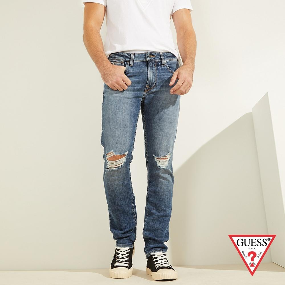 GUESS-男裝-個性刷破修身直筒牛仔褲-藍 原價3490