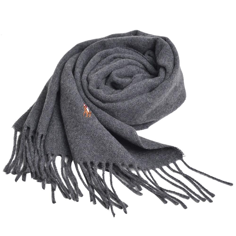 RALPH LAUREN POLO 義大利製彩色小馬刺繡LOGO素面羊毛圍巾(深灰系)GUCCI