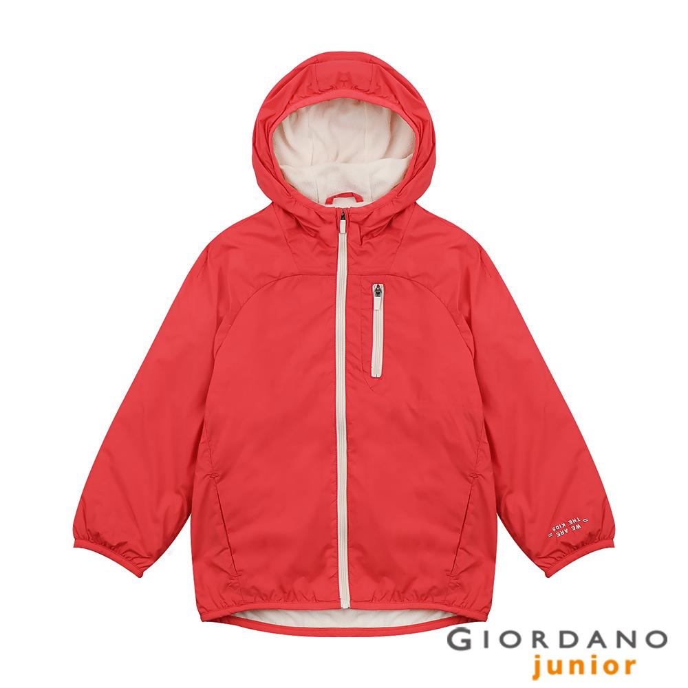 GIORDANO 童裝搖粒絨內裡連帽鋪棉外套-31 杜鵑紅