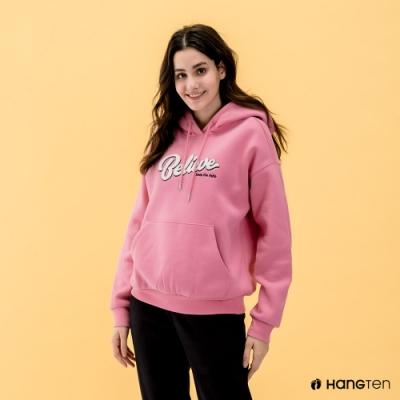 Hang Ten-女裝-HOPE-束口內刷毛Believe繡字連帽T恤-粉色