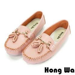 Hong Wa 小資OL‧牛皮金屬蝴蝶結娃娃鞋 - 粉