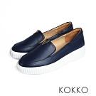 KOKKO - 優雅小跑步牛皮輕量休閒鞋 -  深海藍