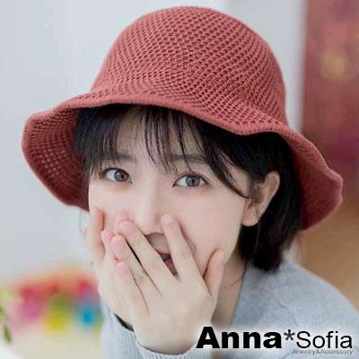 AnnaSofia 單色線織平頂 軟式遮陽防曬漁夫帽盆帽(鏽紅系)