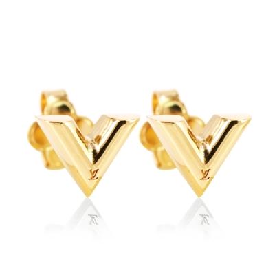 LV M68153 Essential 經典logo V型穿扣式耳環(金色)