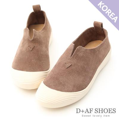 D+AF 輕鬆百搭.超軟真皮U口懶人鞋*棕