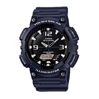 CASIO 戶外運動 太陽能 數位雙顯腕錶 (AQ-S810W-2A2)-深藍/52mm