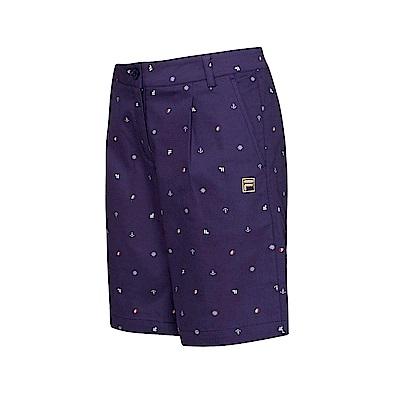 FILA 女款平織短褲-藍紫 5SHT-1713-DB