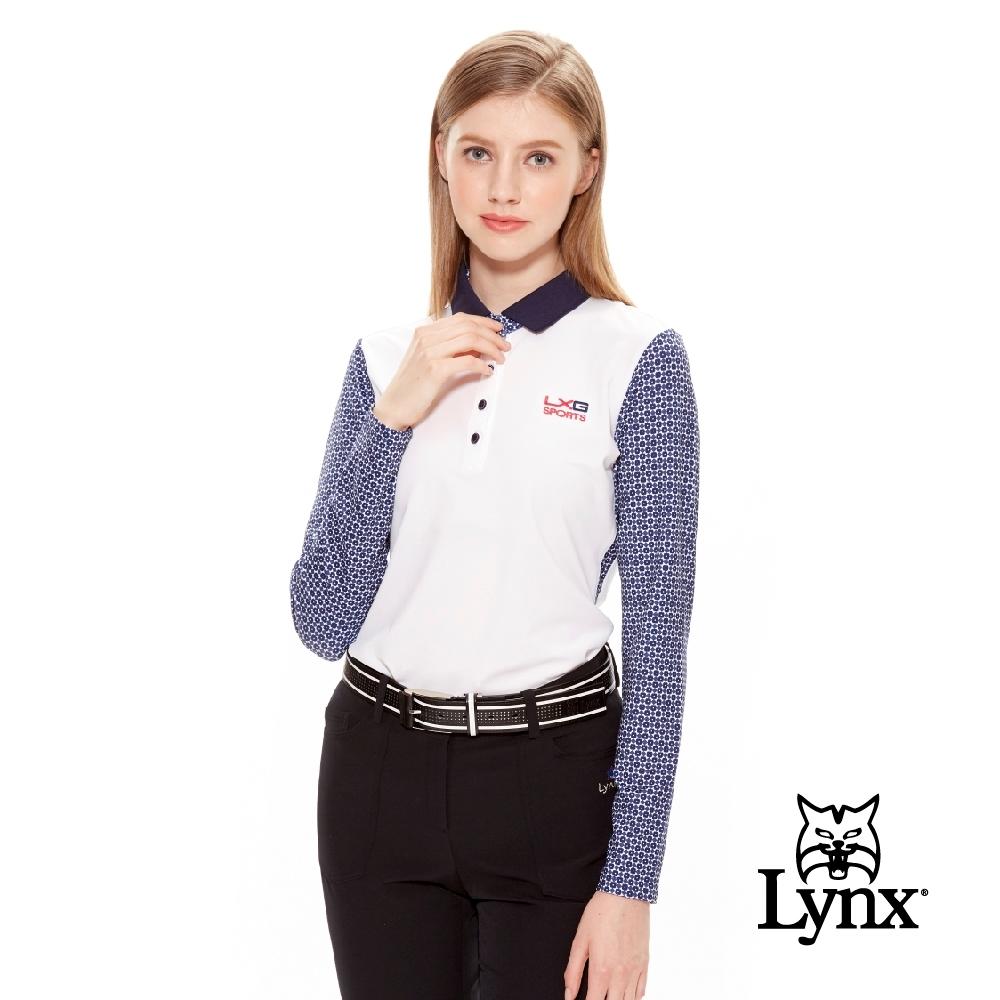 【Lynx Golf】女款抗UV吸汗速乾長袖滿版印花POLO衫-深藍色