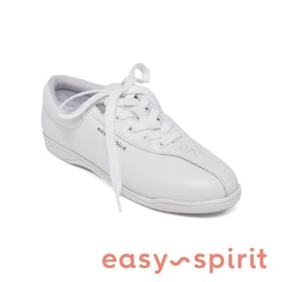 Easy Spirit - ESAP1 真皮舒適百搭綁帶休閒小白鞋-白色
