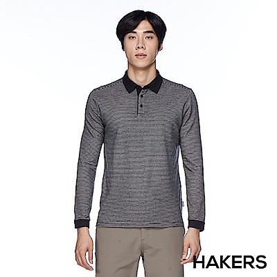【HAKERS】男款 天絲棉條紋保暖POLO衫(黑灰條)