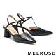 高跟鞋 MELROSE 簡約時髦壓紋T字繫帶尖頭高跟鞋-黑 product thumbnail 1